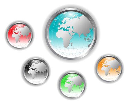 globe logo: Five detailed earth globe web buttons.