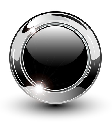 High glossy, beautiful blank web button with metallic chrome elements. Vector