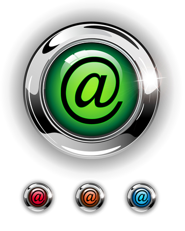 Email, mail icon, button, glossy metallic shining chrome. Vector