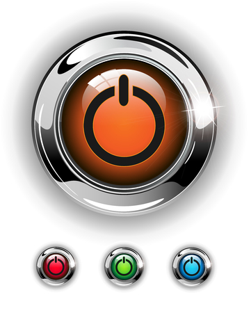 Start icon, button, glossy metallic shining chrome. Vector