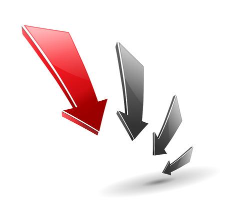 3d red glossy arrows good as logo, illustration.  Vector