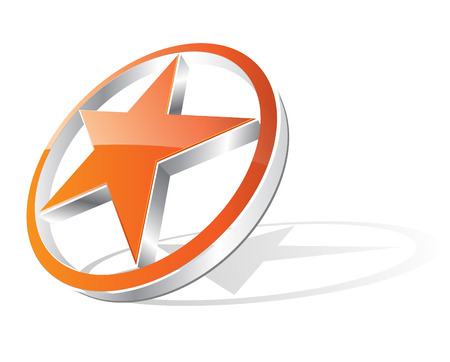 star logo: 3d orange glossy star with shadow, good as logo, illustration.  Illustration