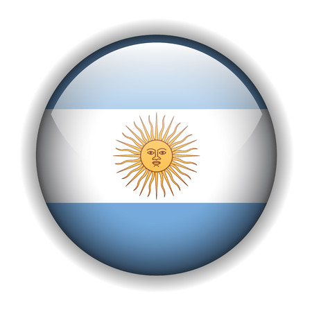 rounded: Argentina flag, glossy button