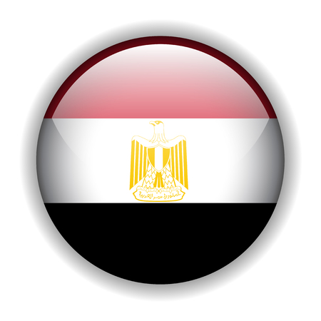 Egypt flag, glossy button Vector
