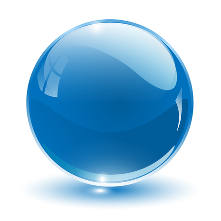 blue sphere: 3D crystal sphere, illustration.