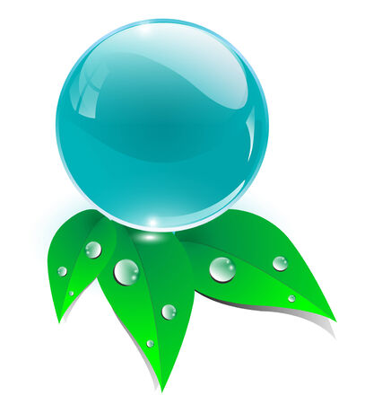 water drops on leaf: Fresh icon, crystal blue water sphere and green fresh leaves, ecology concept.