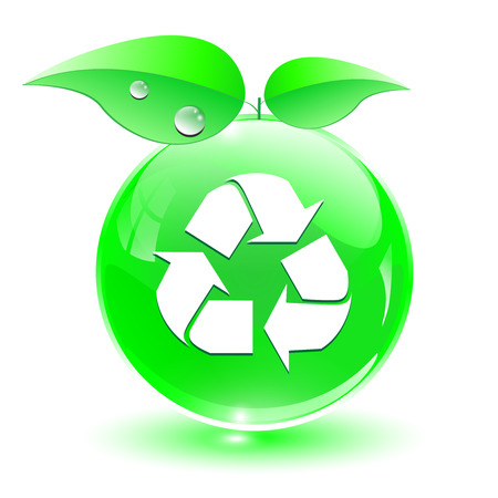 Recycle, green eco icon, fresh crystal sphere with leaves, ecology concept. Vector