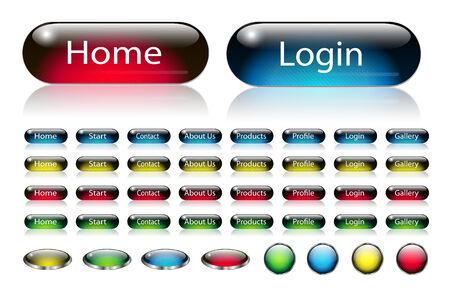 Navigation buttons set for your website with interesting pattern Vector