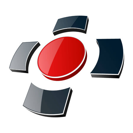 wealth abstract: Logo 3d, glossy cross black and red colors. illustration.
