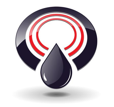 refinaria: Logo 3D, circles red and black and oil drop with shadow, perfect for you business logo. Ilustração