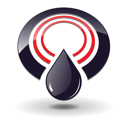 Logo 3D, circles red and black and oil drop with shadow, perfect for you business logo. Logo