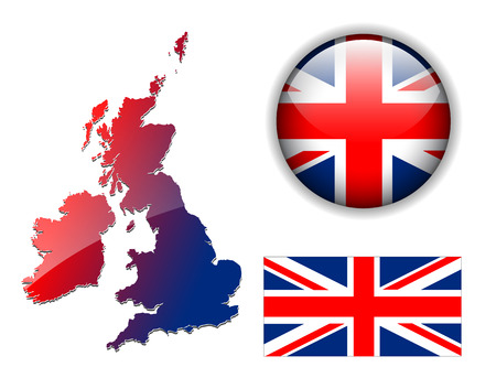 United Kingdom, England flag, map and glossy button