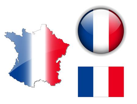 bandera francia: Bot�n de bandera, mapa y brillante de Francia