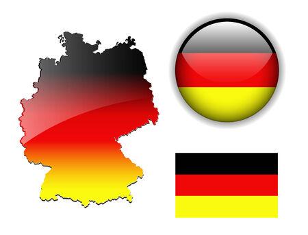 Deutschland, Deutschland-Flag, Karte und glänzend-Schaltfläche  Vektorgrafik
