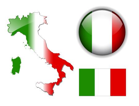 flag italy: Italia, la bandera italiana, bot�n de mapa y brillante Vectores