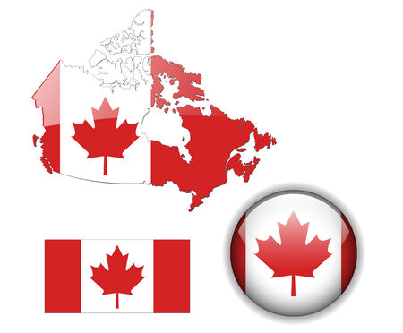 Canada flag, map and glossy button Illustration