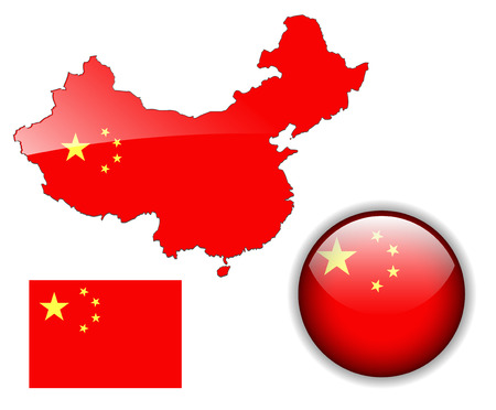 Peoples Republic of China  flag, map and glossy button  Vector
