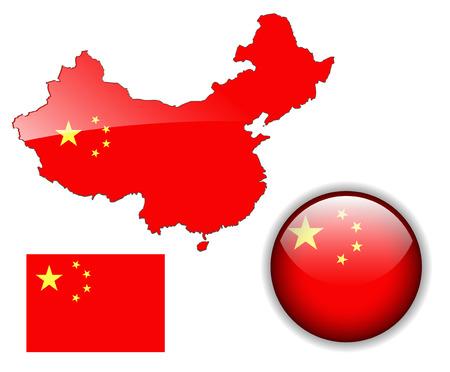 mapa china: Rep�blica Popular China bot�n de bandera, mapa y brillante
