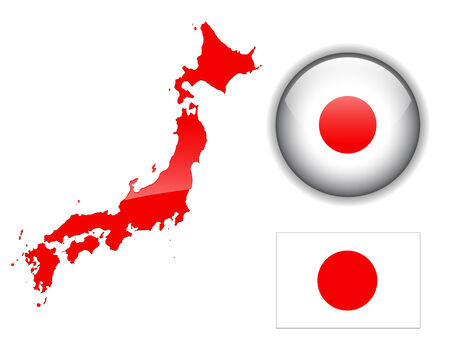japanese flag: Japan flag, map and glossy button