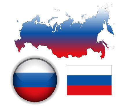bandera de rusia: Rusia, la bandera rusa, el mapa y la bot�n brillante  Vectores