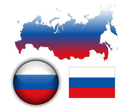 Russia, russian flag, map and glossy button Vector