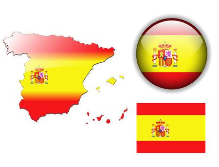 bandiera spagnola: Spagna, bandiera spagnola, il pulsante Mappa e lucida
