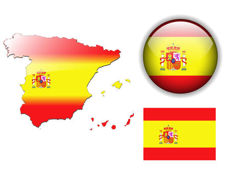 spanish flag: Spain, Spanish flag, map and glossy button