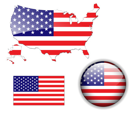 flags usa: North American USA flag, map and glossy button