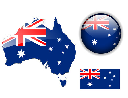 Australia, Australian flag, map and glossy button