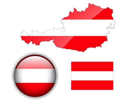 austria map: Austria flag, map and glossy button Illustration