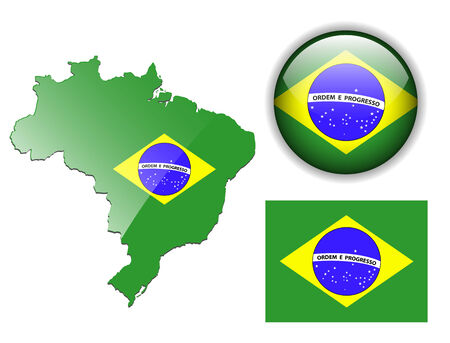 brazil symbol: Brazil, Brazilian flag, map and glossy button