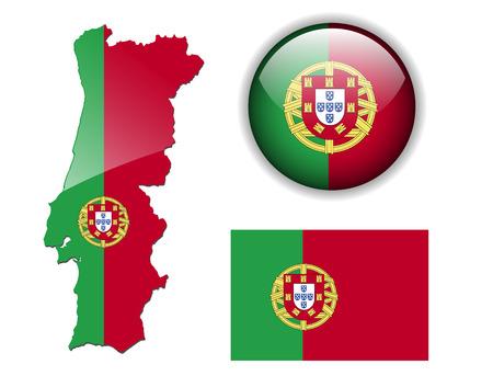 bandera de portugal: Bot�n de Portugal, portugu�s, bandera, mapa y brillante Vectores