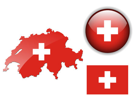 swiss flag: Switzerland, Swiss flag, map and glossy button