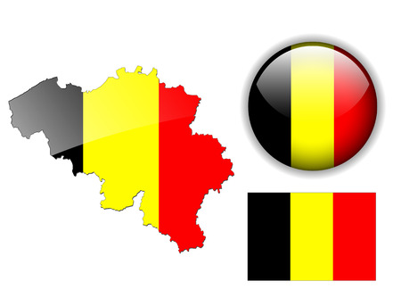 Belgium, Belgian flag, map and glossy button Vector