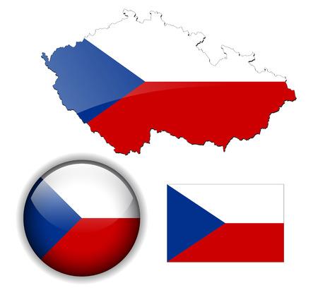 czech republic flag: Czech Republic  flag, map and glossy button Illustration