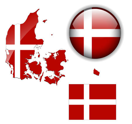 Denmark  flag, map and glossy button Vector