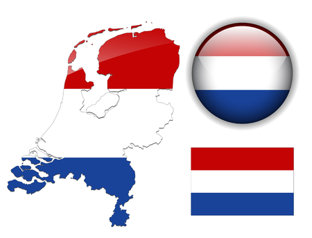 Holland, Netherlands  flag, map and glossy button Vector