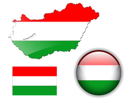 Hungary, Hungarian flag, map and glossy button Vector