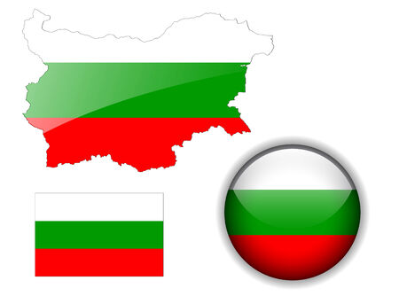 Bulgaria, Bulgarian flag, map and glossy button Vector
