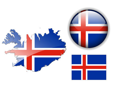 flag of iceland: Bot�n de bandera, mapa y brillante de Islandia
