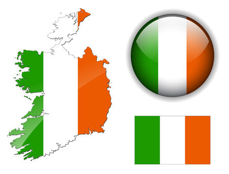 Ireland flag, map and glossy button Stock Vector - 6554081
