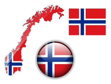 Botón de bandera, mapa y brillante de Noruega