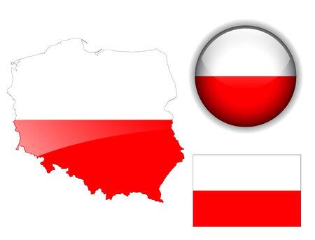 Poland, Polish  flag, map and glossy button Vector