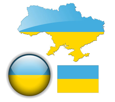 Ukraine flag, map and glossy button, vector illustration set. Vector