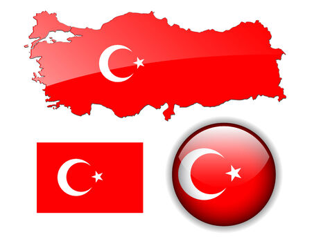 Turkey, Turkish flag, map and glossy button Stock Vector - 6554042