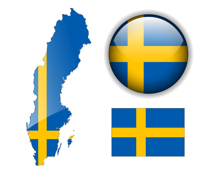 sweden flag: Sweden, Swedish flag, map and glossy button