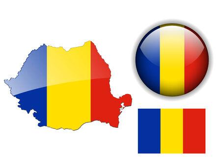 Roemenië vlag, kaart en glanzende knop