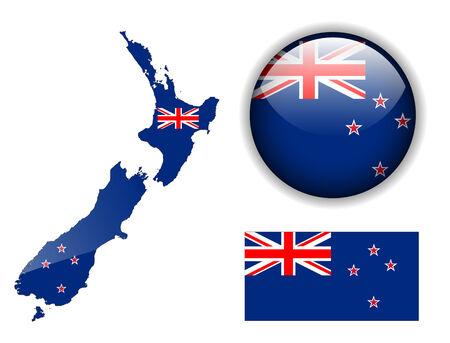 new zealand flag: Neozelandese pulsante di bandiera, mappa e lucida Vettoriali