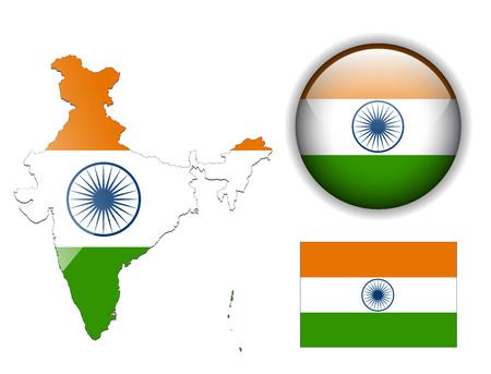 India, Indian  flag, map and glossy button Vector