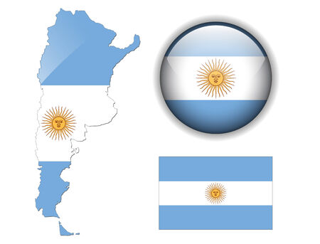 argentina: Argentina  flag, map and glossy button Illustration